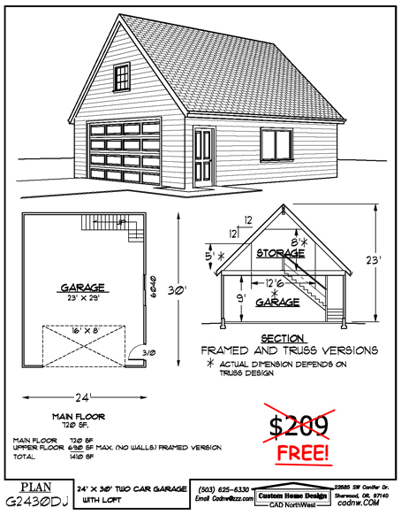 Woodworking plans free garage plans 24 x 30 pdf plans for Garage plans free blueprints